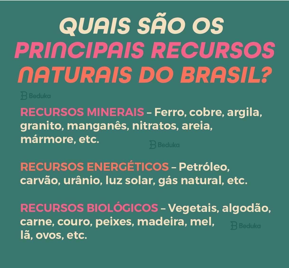 quais são os principais recursos naturais do Brasil