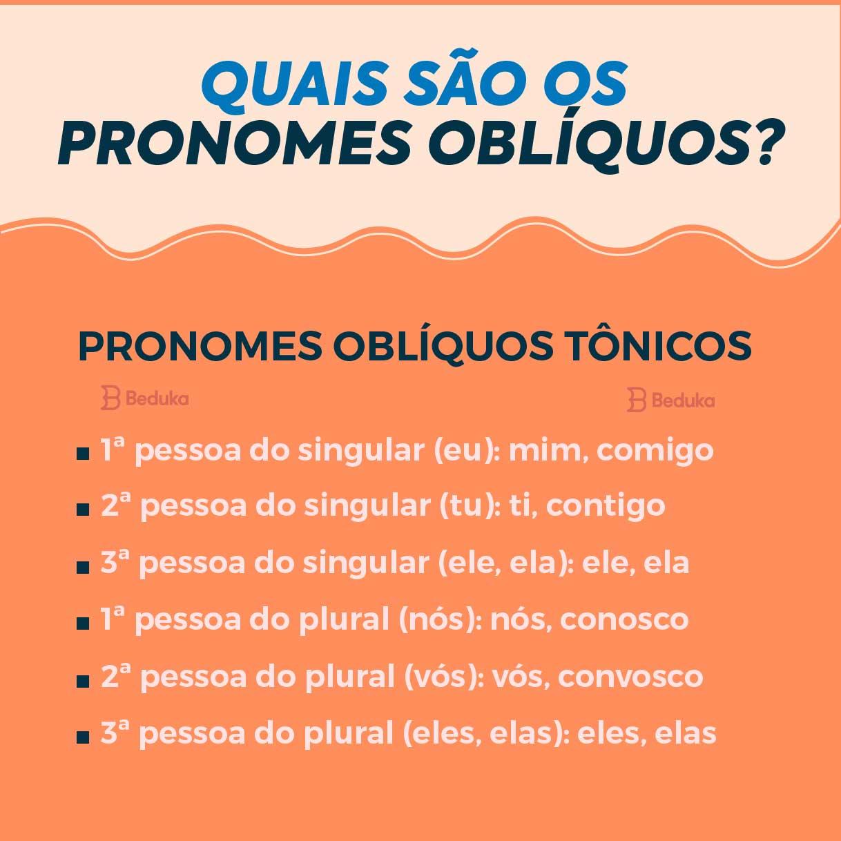 quais são os pronomes oblíquos tônicos