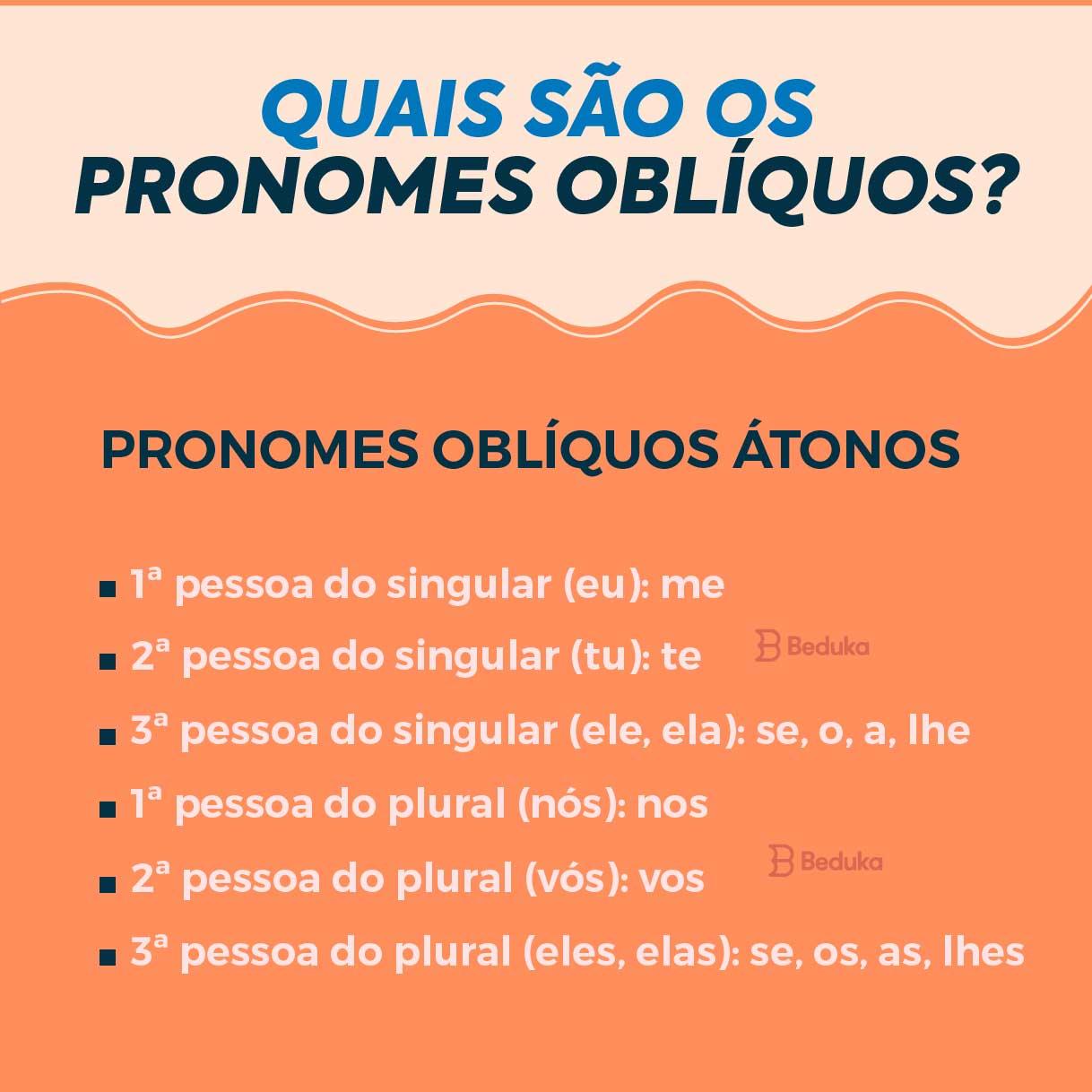 quais são os pronomes obliquos átonos