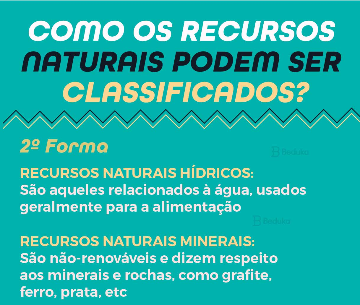 segunda forma de classificar os recursos naturais