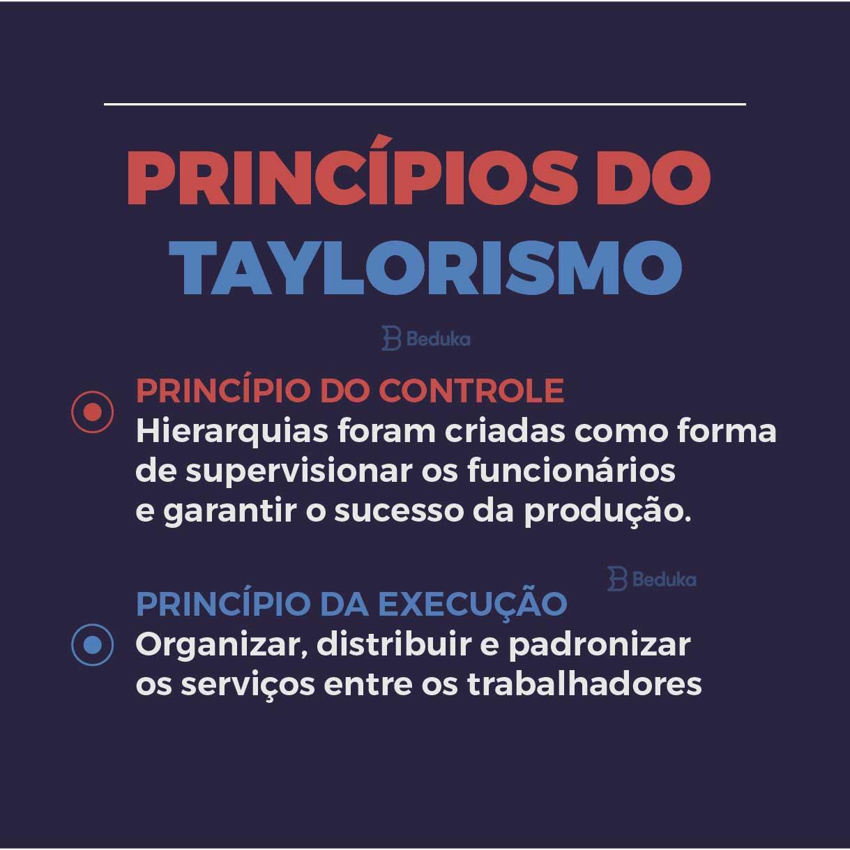 princípios do taylorismo, controle e execução