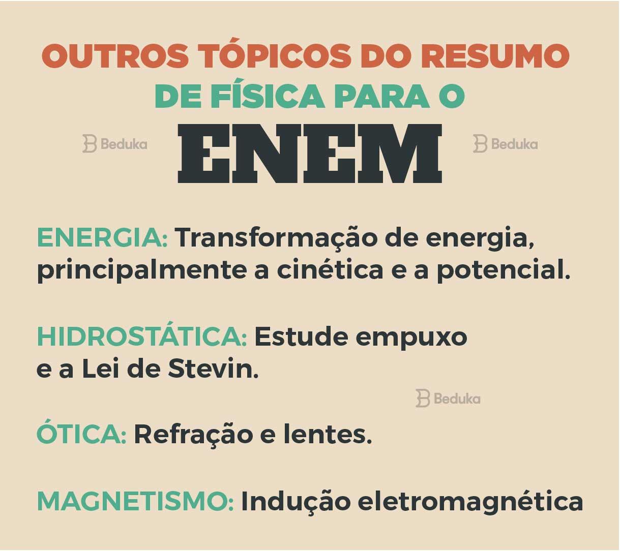 resumo de física para o enem, energia, hidrostática, óptica e magnetismo