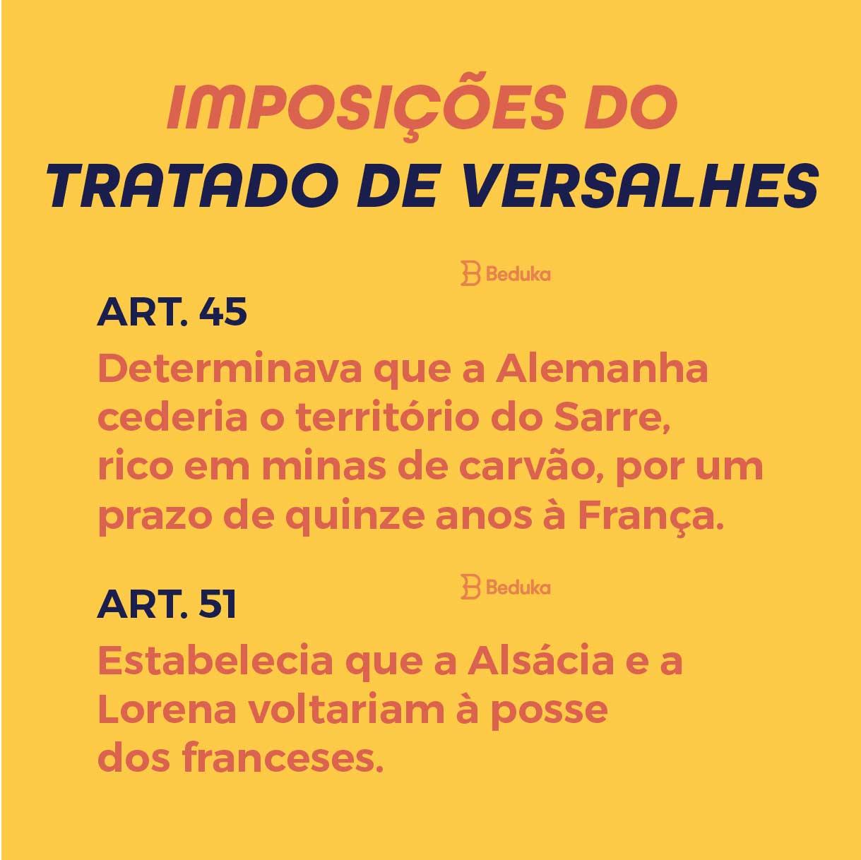 artigos 45 e 51 das imposições do tratado de Versalles