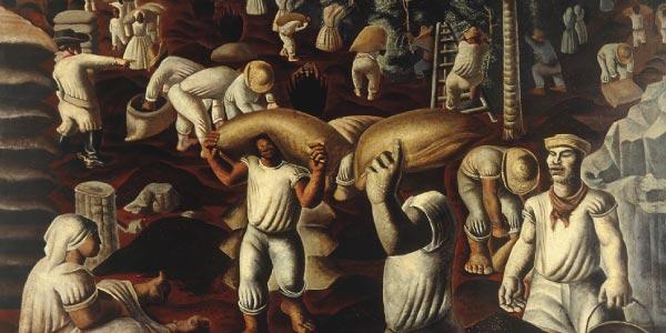 Na pintura com os negros carregando sacas de café vê-se aImportância do café no Segundo Reinado