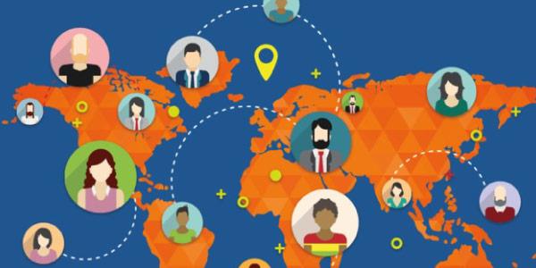 globalização cultural representada em um mapa mundi com países e pessoas conectadas numa rede