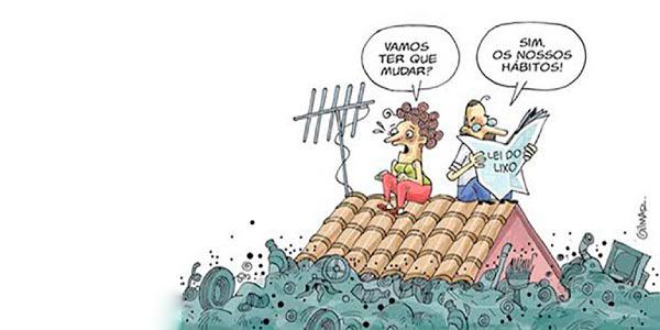 consumismo e lixo retratado em cartum com pessoas no telhado de uma casa durante uma enchente