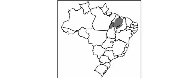 mapa do brasil em preto e branco mostrando o bioma do nordeste