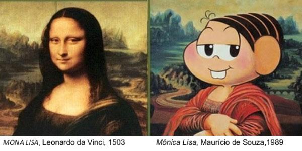 exemplo de intertextualidade na pintura com uma nova versão da Monalisa, com a turma da Mônica