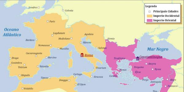 divisão do império romano