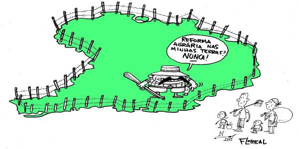 charge que representa os conflitos da Reforma Agrária no Brasil