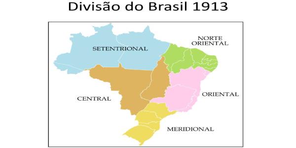 Divisão do Brasil no ano de 1913 para fazer os Exercícios sobre Divisão Regional do Brasil