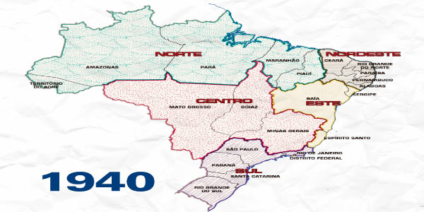 Divisão do Brasil no ano de 1940 para fazer os Exercícios sobre Divisão Regional do Brasil