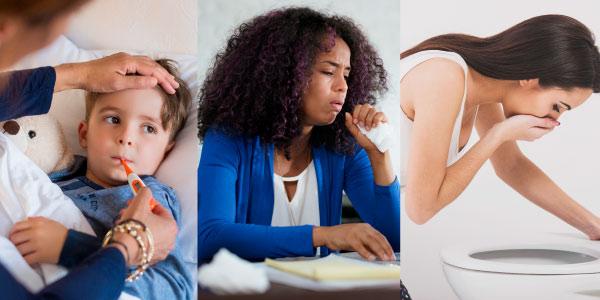representação de alguns sintomas da esquistossomose - febre, tosse, vômito
