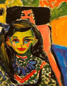 """""""Fränzi perante uma cadeira talhada"""", de Ernst Ludwig Kirchner"""