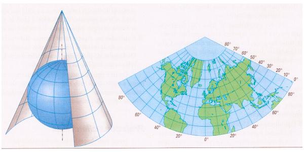projeção cartográfica cônica
