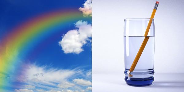 Exemplos de refração: arco-íris e objeto na água