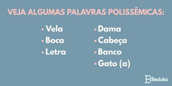 exemplos de palavras polissêmicas