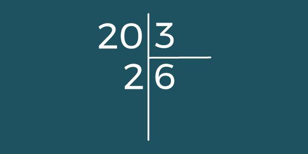 exemplo de uma divisão: 20 dividido por 3
