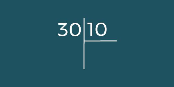 Exemplo: Temos o número 30 que precisa ser dividido por 10.