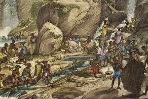 Descoberta de minas de ouro e de diamantes em Minas Gerais