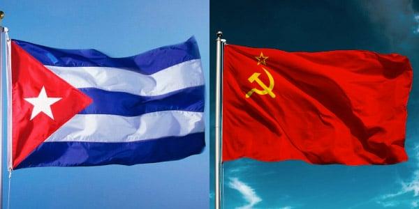 Bandeira Cubana e Bandeira Soviética
