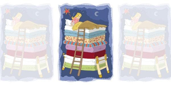 Imagem-do-conto-a-princesa-e-a-ervilha-váriso-colchões-com-uma-princesa-dormindo-em-cima-depois-de-subir-em-uma-escada