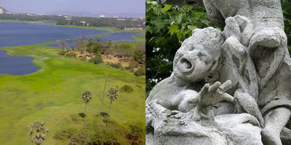 Impactos-do-nitrogenio-no-meio-ambiente-lago-eutrofizado-e-chuva-ácida-corroendo-estátua