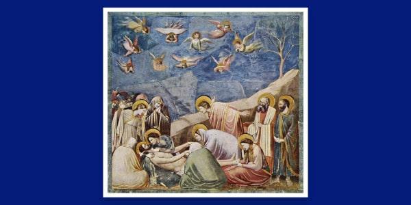 Pintura A Lamentação obra renascentista de Giotto di Bondone