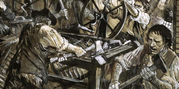 escultura-de-trabalhadores-quebrando-máqina-influencia-de-ned-ludd-e-o-movimento-do-ludismo