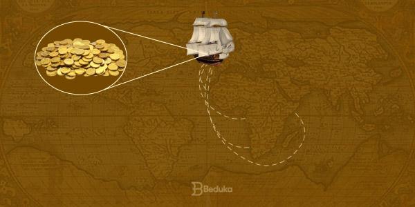 mapa-com-navio-ingles-levando-riquezas-a-inglaterra