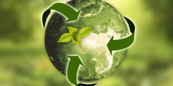 sustentabilidade - mundo com as três setas verdes - preservação