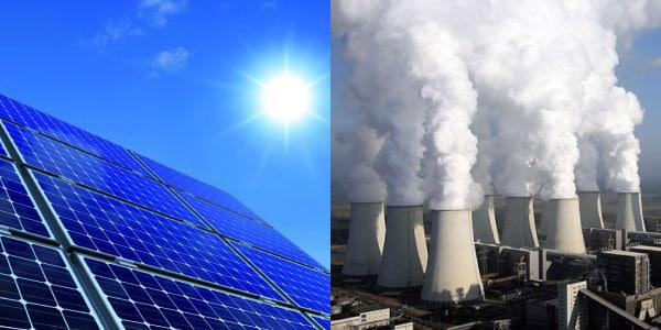 tipos-de-energia-termica-placas-de-luz-solar-renovável-e-usinas-termoeletricas-de-carvão-nao-renovaveis