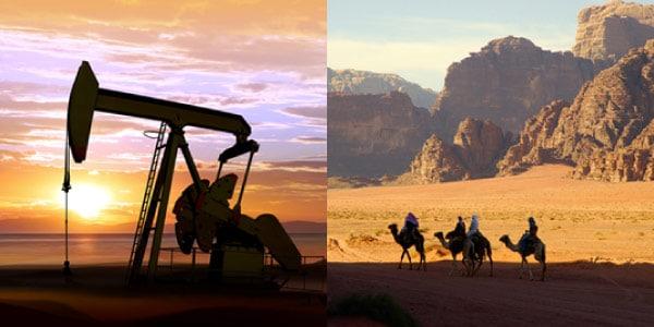 economia-do-oriente-medio-petroleo-e-usinas-petroliferas-e-turismo-e-pecuaria-nomade-de-camelos-no-deserto
