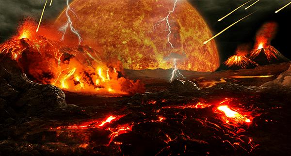 era-geológica-do-hadeano-terra-primitiva-em-fomração-com-lavas-e-vulcoes