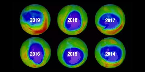 buraco na camada de ozonio evoluçao diminuindo nos anos de 2014 2015 2016 2017 2018 2019