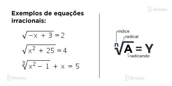 exemplos de equaçoes irracionais e seus elementos