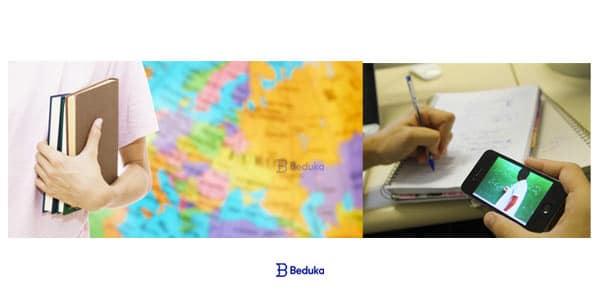 estudante com o caderno pelo mundo intercambio em universidade e graduaçao ou faculdade EAD a distancia digital