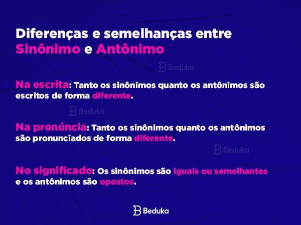 Diferenças e semelhanças entre Sinônimo e Antônimo. Na escrita, na pronúncia e no significado.